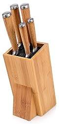 Bluespoon Messerblock Set aus Bambus 6 teilig | Mit Kunststoffeinsatz passend für alle Messer | Beinhaltet 5 Messer - vom Brotmesser bishin zum Spickmesser