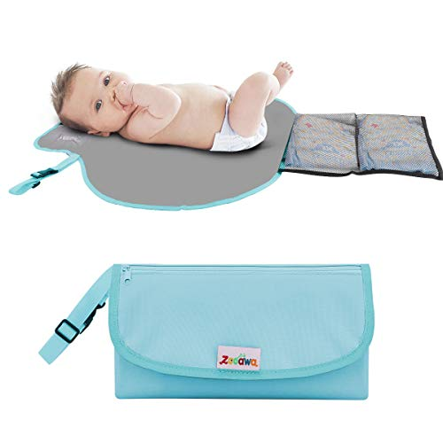 Portable Changing Kit (Zooawa Portable Diaper Changing Pad Mat Waterproof Folding Station Clutch Travel Carrying Bag with Built-in Pillow for Baby Infants, Blue)