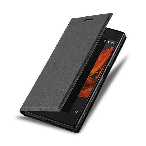 Cadorabo Hülle für Sony Xperia XZ/XZs - Hülle in Nacht SCHWARZ – Handyhülle mit Magnetverschluss, Standfunktion und Kartenfach - Case Cover Schutzhülle Etui Tasche Book Klapp Style