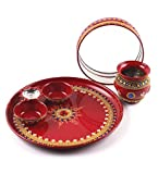 Itiha Karwachauth Indian Traditional Decorative Pooja thali Beautiful Ethnic Gift/Indian Handicraft/karwachauth channi/Pooja Thali Set Red (12 inch)