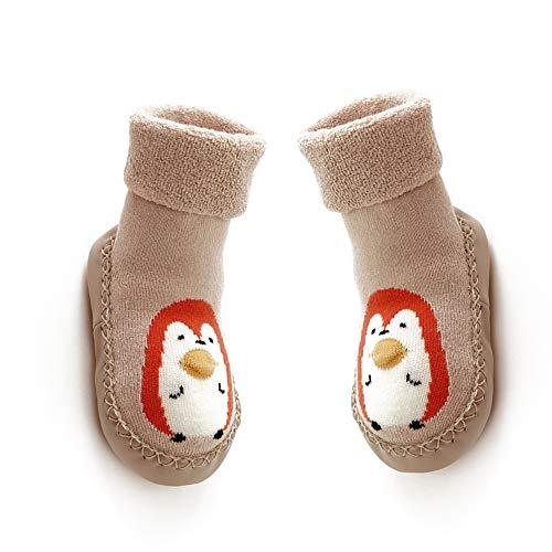 Mukluk Slipper Stiefel (lujiaoshout 13CM Baby-Anti-Rutsch-Socken Stiefel atmungsaktive Baumwolle Schuhe Cartoon Slipper Socken für Kinder, Kleinkinder, Neugeborene-Khaki)