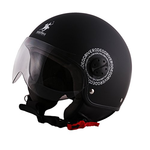 Rodeo Drive RD104flash Casco Moto, Nero Opaco, Taglia M