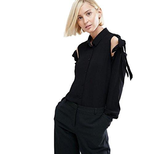 Chiffon Pullover Damen, DoraMe Frauen Neue Feste Farbe Bluse Lange ärmel T-Shirt Bandge Bow Hemd Lässig Shirt (S, Schwarz) (Farbe Diagramm Shorts)