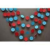 Circo guirnalda–Aqua rojo guirnalda–decoraciones de fiesta–guirnalda de papel–, decoración–guardería–Círculos guirnalda