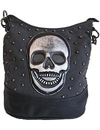 994edfc960dc5 Jn Gianni Handtasche Hobo Bag schwarz grau mit Nieten und Totenkopf Schultertasche  Damen Tasche Skull