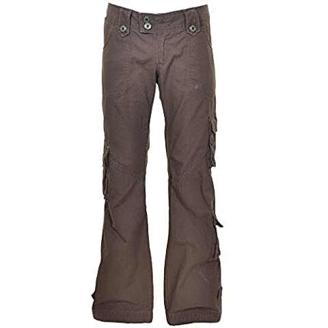 Himalayan Hipster Womens Cargo Trousers 45062 - 100% Cotton, Premium Quality Ladies Army-style Combat Pants, Medium/13 Dirt Brown