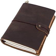 ubaymax oscuro marrón auténtica Crazy Horse piel hecha a mano cuaderno diario recargables planificador diario de viaje Cuaderno con elástico correa Bind para las niñas Mujeres Hombres Niños Teens–M tamaño: 6,7x 3.74inch