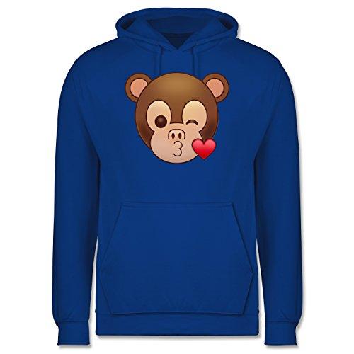Comic Shirts - Küsschen Äffchen Emoji - Männer Premium Kapuzenpullover / Hoodie Royalblau