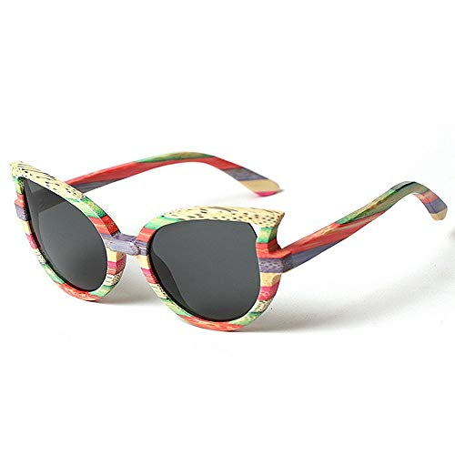 XHCP Frauen Klassische Sonnenbrille Hochwertige Handgefertigte Holzrahmen Polarisierte Sonnenbrille Für Frauen Katzenaugen Sonnenbrille UV-Schutz Sonnenbrille Fahren Sonnenbrille Persönlichkeit S