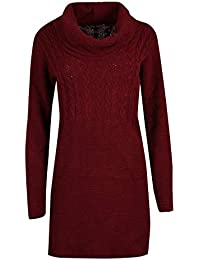 6690d5866b Oops Outlet Womens Chunky Knitted Mini Dress Ladies Long Sleeve Oversized  Cowl Neck Top Jumper Sweater