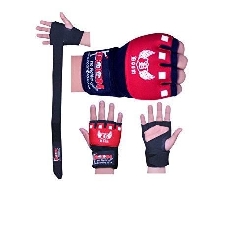 Boom Prime Rot Neopren Boxen Innen Gel Handschuhe MMA Hand Wraps Faustschutz Bandagen Muay Thai Pad (Kostenloser UK Versand), rot