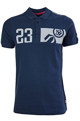 Herren Crosshatch Matrix Zwei Polohemd Baumwoll Piqué Freizeit T-shirt Kragen Top Insignia Marineblau