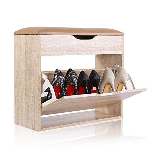 Happy home products portascarpe con cuscino panca scarpiera per entrata corridoio camerino(legna, l60*w24*h55)