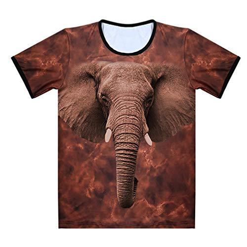 XIUFANG De Los Hombres Elefante Animal Gráfico 3D Impresión Suelto Casual Cuello Redondo Manga Corta Camiseta,Brown,3XL