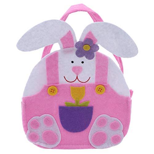 YSINFOD Ostern Süßigkeiten Tasche Osterhase Taschen Cute Bunny Ohren Taschen Kinder Party Geschenk Taschen mit Griff Ostern Party Supplies, Rosa