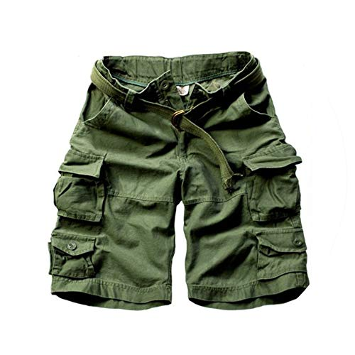 Summer Hot Mens Cargo Shorts Multi Pocket Cotton Men Short Pants Workout Shorts,Army Green,XL - Buckle Strap Knee Boot