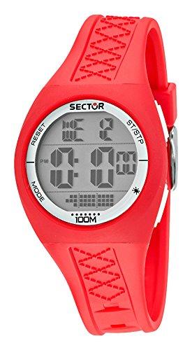 Sector Fashion Street No Limits-Orologio da uomo al quarzo, con Display Lcd digitale e cinturino in Silicone R3251583006, colore: rosso