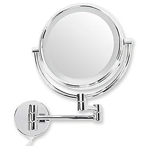 casa pura® Kosmetikspiegel für die Wandmontage | mit LED Beleuchtung | 3 hohe Vergrößerungsgrade wählbar (10-Fach)