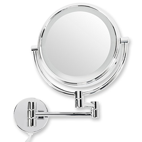 casa pura® Kosmetikspiegel für die Wandmontage | mit LED Beleuchtung | 3 hohe Vergrößerungsgrade wählbar (10-Fach) - Messing Wand Spiegel