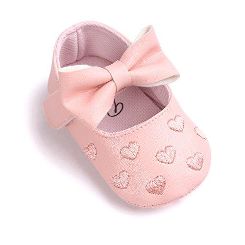 Auxma Baby schuhe mädchen Bowknot-lederner Schuh-Turnschuh Anti-Rutsch weiches Solekleinkind für 0-18 Monate (13(12-18M), Verde) Rosa