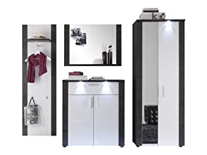 trendteam xp1410 garderobe flurgarderobe garderoben set 4 tlg wei und esche grau 267 x 184 cm. Black Bedroom Furniture Sets. Home Design Ideas