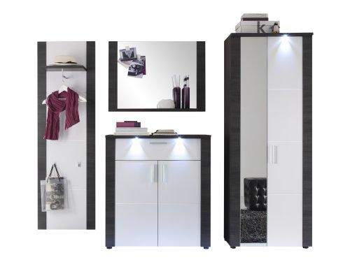 trendteam XP1410 Garderobe Garderoben Set 4-teilig Esche grau Nachbildung, Fronten weiß Nachbildung, BxHxT 267x184x38 cm