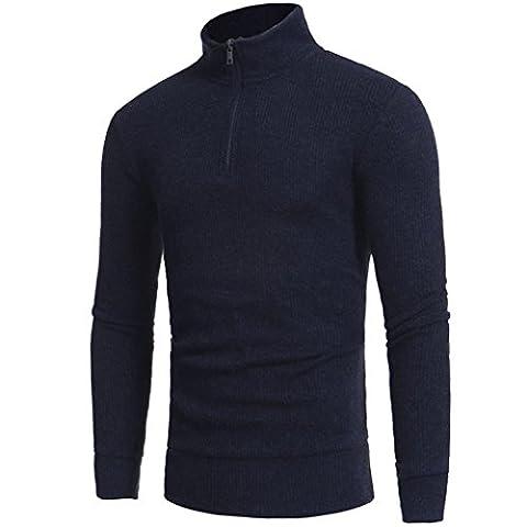 Toamen T-shirt de combat à manches longues Col montant pour homme Zipper Tops Pullover (M, Marine)