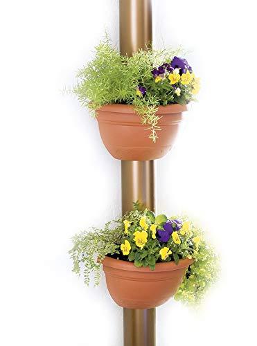 UPP Fallrohr-Blumentopf 2 Stück terrakotta passend für alle Rohre bis Ø 14cm - wetterfest - inkl. Befestigungsmaterial / Pflanzkübel / Blumentopf / Regenrohrkasten / Pflanztopf