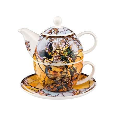 Goebel Artis Orbis Sittiche Tea For One, Teeset, Kanne, Tasse und Untertasse, Louis Comfort Tiffany,...