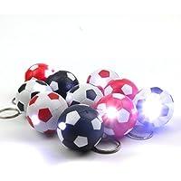 10x Fussball Schluesselanhaenger mit LED-Lampe in 4 Farbkombinationen
