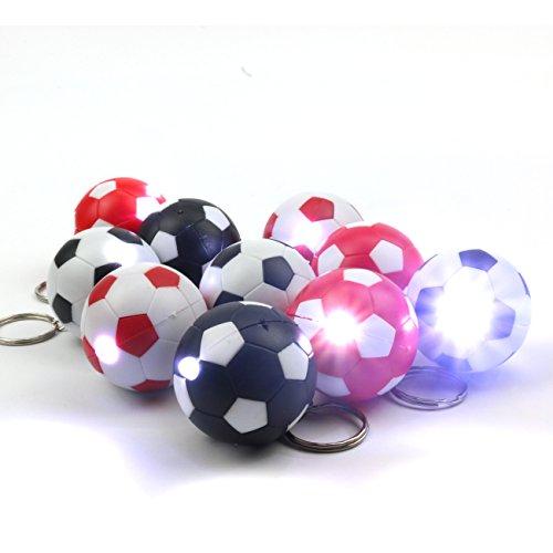 jameitop® 20x Fussball Schluesselanhaenger mit LED-Lampe in 4 Farbkombinationen