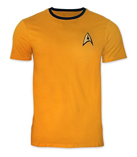 Original Trek Star Serie Uniform Kostüm - Star Trek T-Shirt Uniform - Captain Kirk mit goldfarbenem Stick, Gelb, XL