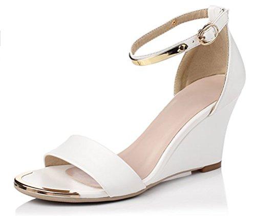 Easemax Damen Sexy Single Strap Knöchelriemchen Keilabsatz Pumps Sandalen Weiß 34 EU