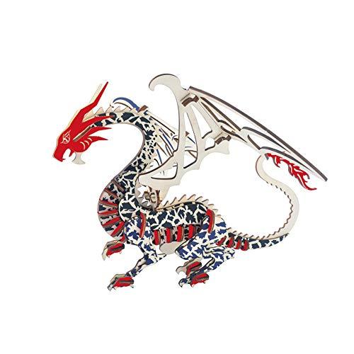 TOPofly 3D Puzzle Dinosaurier Fliegender Drache DIY Montage Spielzeug Kinder Erwachsene 32,7 * 29,7 * 21,5cm Dinosaurier 1 Stück (Drache Holz-puzzle 3d)