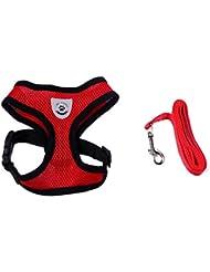 QHGstore Pet Vest cuerda ajustable malla transpirable perro arnés perro correa en la correa del pecho conjunto para el perrito caniche rojo S