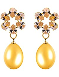 Kiyara Accessories Fashion Jewellery Zircon AD Round Tear Drop Pearl Hanging Dangle Earring In Yellow Gold Plating...