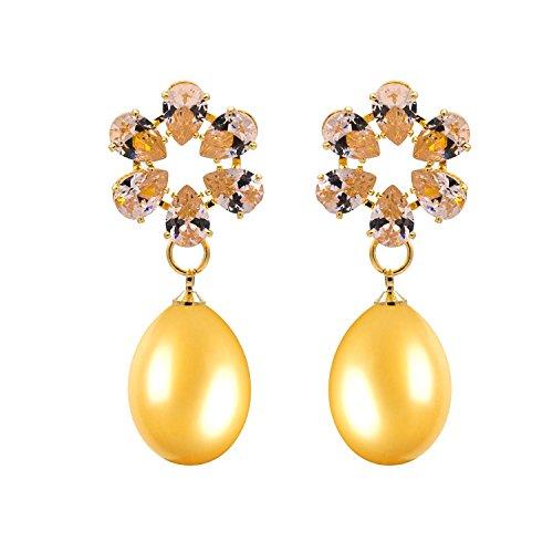 Kiyara Accessories Fashion Jewellery Zircon AD Round Tear Drop Pearl Hanging Dangle Earring In Yellow Gold Plating...