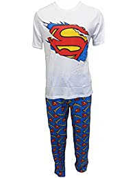Hommes SUPERMAN officiel S T-Shirt Logo Haut Long Pyjama Coton tailles s M L XL
