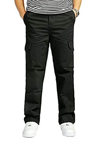 Winter Mens Cargo Pants Thicken Trousers Army Green Plus Size Casual Cotton Trousers Simple Designed Black