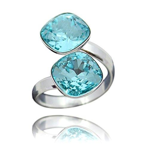 Crystals & stones, anello da donna in argento 925, doppio quadrato con swarovski elements, misura regolabile e argento, colore: turchese , cod. 7