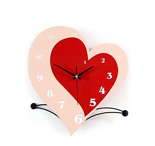 Horloge murale de bande dessinée en forme de coeur mode moderne jardin horloge muet salon chambre horloge murale