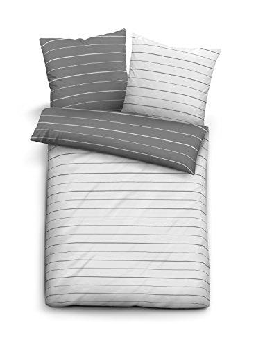 biberna Mix & Match Bettbezug, Abdeckung mit Reißverschluss, Streifen-Motiv Bettwäsche  Decke, Mako-Baumwoll-Satin, Nach Öko-Tex-Standard 100, Sturmgrau, 135 x 200 cm, Individuell kombinierbar mit dem Kissenbezug (Baumwoll-satin-decke)
