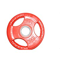 Rubber Solid Weight plate 5 kg Red Colour fits Olympic Barbell