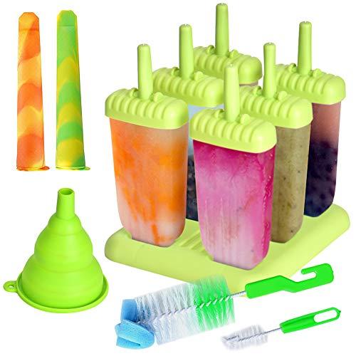 Queta Eisformen, 6 Stück Popsicle Formen Set, 2 Stück Eislutscher Formen, mit BPA Frei Silikon Reinigungsbürste und Falttrichter, für Kinder und Erwachsene