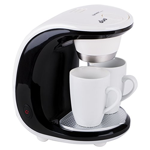 TZS First Austria - 450 W Mini-Kaffeemaschine 2 Tassen je 125ml | 250ml Wassertank | Dauerfilter | inklusive 2 Porzellan-Tassen | abnehmbare Teile spülmaschinengeeignet | Reise-Kaffeemaschine | Büro