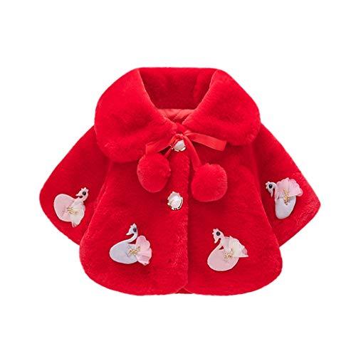 Livoral Baby Winterjacke Neugeborenes Warmer Mantel der winddichten Jacke des gefälschten Pelzmantels der Kleinkindbabywinterkarikatur(Rot,18-24 Monate)