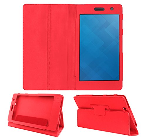 Acm Executive Leather Flip Case For Dell Venue 7 3741 Tablet Front & Back Flap Cover Stand Holder Red  available at amazon for Rs.219