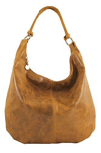 CTM Femmes Sac bandoulière, sac en cuir, 45x35x4cm, cuir véritable 100% Made in Italy