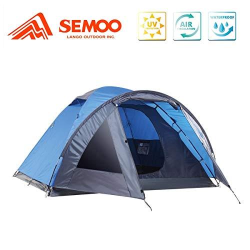 Semoo Leichtgewicht Campingzelt 4 Personen, für 4 Jahreszeiten, D-Eingang, mit Moskitonetz, mit Tragetasche