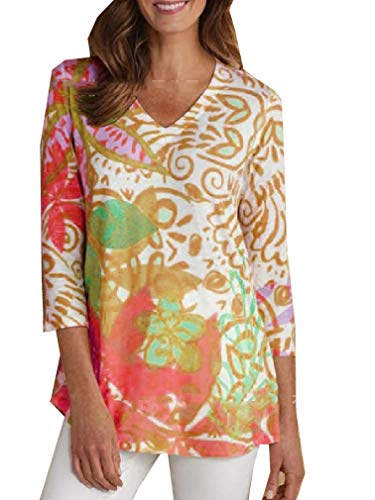 CuteRose Women V Neck Floral Printed Casual Weekend 3/4 Sleeve Relaxed Shirt Top Red XS -